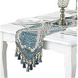 テーブルランナー タッセル付き ジャガード織 花柄 刺? 北欧風 テーブルクロス モダン 豪華 おしゃれ 33x210cm ブルー