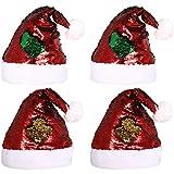 DOYOLLA リバーシブルレッドグリーンスパンコールクリスマスサンタクロースハット 大人&子供用 クリスマスホリデーファンデコレーション 4個