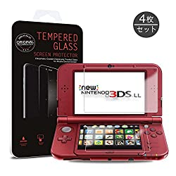 Hapurs 3DS LL New 3DS LL対応上画面・強化ガラスフィルム・下画面・液晶保護フィルム 0.3mm (4枚組)