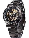 AMPM24 メンズ スケルトン ブラック ダイヤル 自動機械式 ダーク シルバー スチール 腕時計 贈り物PMW210