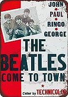 なまけ者雑貨屋 メタルサイン The Beatles Come to Town Movie ヴィンテージ風 ライセンスプレート メタルプレート ブリキ 看板 アンティーク レトロ