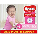 Huggies Ultra Dry Nappies, Girls, Size 4 Toddler (10-15kg), 160 Count, One-Month Supply, (Packaging May Vary)