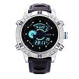 BINZI メンズクォーツスポーツ 革バンド デジタル表示装置 防水電子腕時計(シルバーブルー)