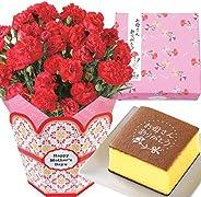 花のギフト社 母の日 カーネーション 文明堂 カステラ 花とスイーツ かすてら 菓子 花 プレゼント