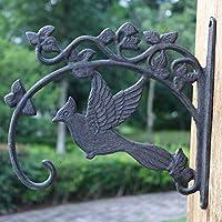 LRW 鋳鉄工芸品、アイアンフック、鳥、ヨーロッパスタイルクラシックノスタルジア様式中庭吊り