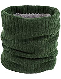 Scarf Winter Scarves Double-Layer Soft Fleece Lined Knit Neck Warmer Circle Scarf Windproof (Green)