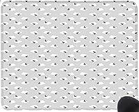 曇り空を飛んで暗いツバメ鳥シルエット功妙なグラフィックデザイングレー淡いグレーホワイトマウスパッド楽しいゲーミングマウスパッド、滑り止めマウスパッド