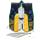 五月人形 陣羽織 金襴 烏帽子ハチマキ付 木製台付セット