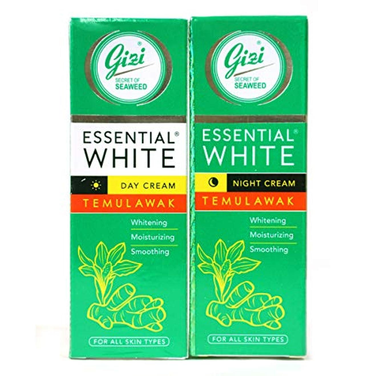わなワーディアンケース施しギジ gizi Essential White フェイスクリーム チューブタイプ 日中用&ナイト用セット 18g ×2個 テムラワク ウコン など天然成分配合 [海外直送品]