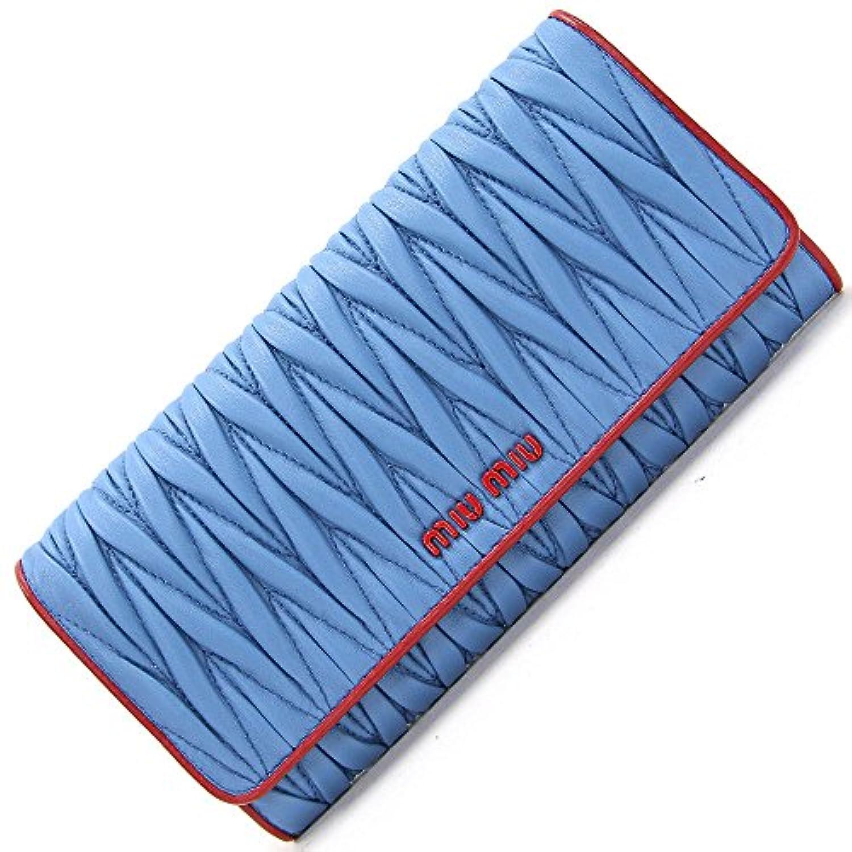 MIUMIU(ミュウミュウ) 二つ折り長財布 マテラッセ 5MH109 ライトブルー レッド レザー 中古 青 ギャザー ロゴ パスケース付き ロングウォレット プリーツ バイカラー miumiu [並行輸入品]