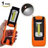 折り畳みタイプ ポータブル 電池式 ワーク ライト 3W COB LED 作業灯 携帯式 明るい 懐中電灯 フラッシュ ライト ハンギングリングと強力な磁石付き 1個入
