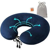 旅行枕、feagarコンパクト&ポータブル、カバー洗濯可能ソフトメモリフォームのU型首枕セット耳栓とベルベットのバッグ、フライト、列車、車、オフィスNaps、ブルー