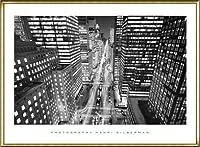 ポスター アンリ シルバーマン Park Avenue at Night、 NYC 額装品 アルミ製ハイグレードフレーム(ゴールド)