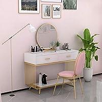 ドレッサー 引き出し ベッドルームバスルーム化粧テーブルライティングデスクホワイト仕上げのメタルレッグの 小物収納 引き出し付 ジュエリーボッ (Color : White, Size : 100x45x75CM)