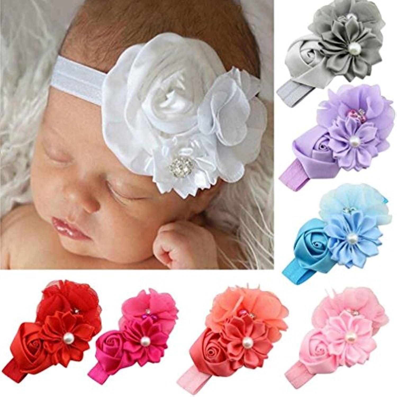 gbsellファッション赤ちゃん女の子フラワーパールヘアバンドヘッドバンドヘアアクセサリー