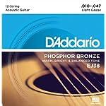 D'Addario ダダリオ アコースティックギター弦 フォスファーブロンズ Light 12弦 .010-.047 EJ38 【国内正規品】