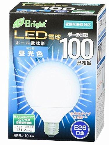 ボール電球形 E26 100形相当 昼光色 10.4W 1370lm 全方向 127mm OHM 密閉器具対応 LDG10D-G AG22 06-3381