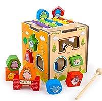 幼児期のゲーム カラフルな木製動物の形状のソーター幾何学的な並べ替えボックス子供のための教育形状色認識玩具(ピアノ)