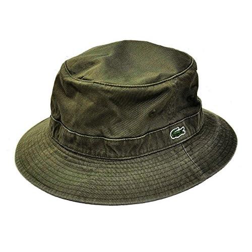 (ラコステ) LACOSTE コットンサファリハット L3981 モスグリーン 58.5cm 国産 綿 アドベンチャーハット シンプル メンズ レディース 男女兼用 帽子