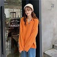 秋と冬のフード付きセーター女性の頭のニットトップを着た韓国語版,オレンジ色,ワンサイズ