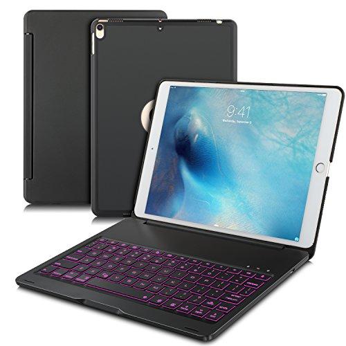 IVSO IPAD PRO 10.5 キーボード 7色バックライト式 APPLE iPad Pro 10.5 キーボード ケース 手帳式 スタンド機能 オートスリープ機能付き ipad 一体型 Bluetooth ワイヤレスキーボード カバー ipad pro 10.5 アルミ合金製キーボードケース ブラック