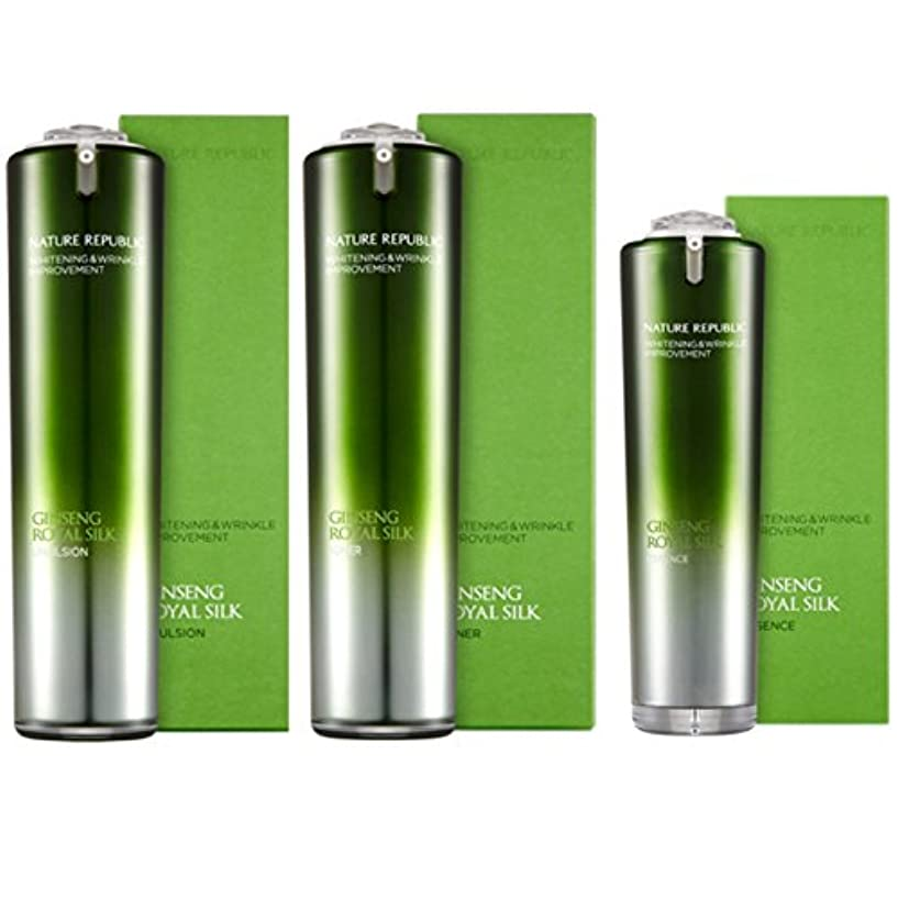宮殿サークル目覚める[韓国 Nature Republic] Nature Republic Ginseng Royal Jelly Silk トナー 乳剤 エッセンス セットゴールドホワイトニングリンクルしっとり弾力性改善 (Nature Republic Ginseng Royal Jelly Silk Toner Emulsion Essence Set Gold Whitening Wrinkle Moist Elasticity Improvement) [並行輸入品]