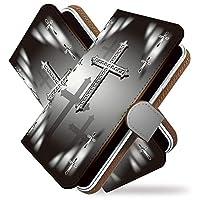 [KEIO ブランド 正規品] AQUOS Xx2 ケース 手帳型 クロス Xx2 手帳型ケース クロス AQUOS カバー Xx2 十字架 アクオス ケース ダブルエックス2 シルバー メンズ ittnジーザスオブダークt0378