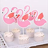 Pink Flamingo Cake Cupcake Toppers Party Decorations Food Picks - 20 pcs