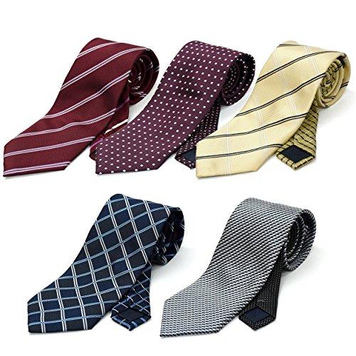 (スミスアンドスコット) Smith & Scott 全24パターン 洗濯 出来る ポリ ウォッシャブル ネクタイ 5本 セット 無地 ストライプ 小紋 チェック ドット 柄 ビジネス ブランド ネクタイ タイプ8