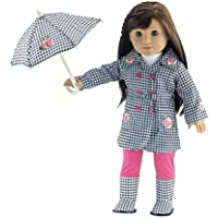 18 Inch Doll Clothes | Lovely 5-Piece Raincoat Outfit with Rose Embellishments, Including Matching Boots and Umbrella,