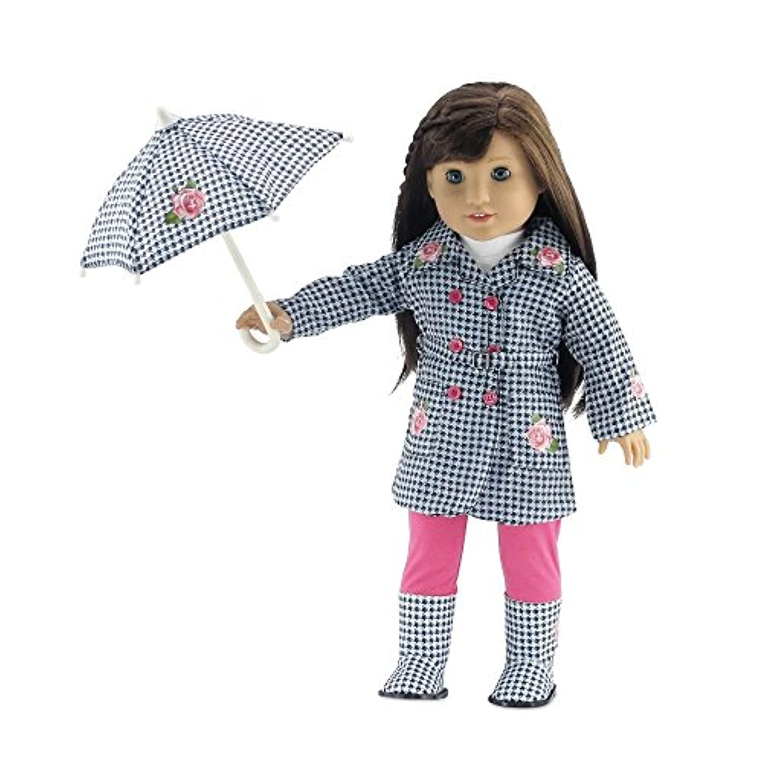 18 Inch Doll Clothes   Lovely 5-Piece Raincoat Outfit with Rose Embellishments, Including Matching Boots and Umbrella,