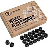 """20pc Black Open End Lug Nuts - Metric 12x1.5 Thread Size - 0.85"""" Length - Cone Conical Taper Acorn Seat - Installs with 19mm or 3/4"""" Hex Socket"""