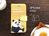Panda-shop かわいい 目玉焼きぱんだ iPhone6/6s 手帳型 スマホケース イエロー レザー素材 日本製