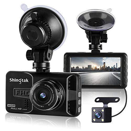 SHING'TAK ドライブレコーダー デュアルドライブレコーダー 前後カメラ 1080PフルHD緊急録画 170度高画 質広視野角 G-sensor 防犯カメラ WDR 駐車監視 常時録画 スタンド付き 3.0インチ液晶 2年保証
