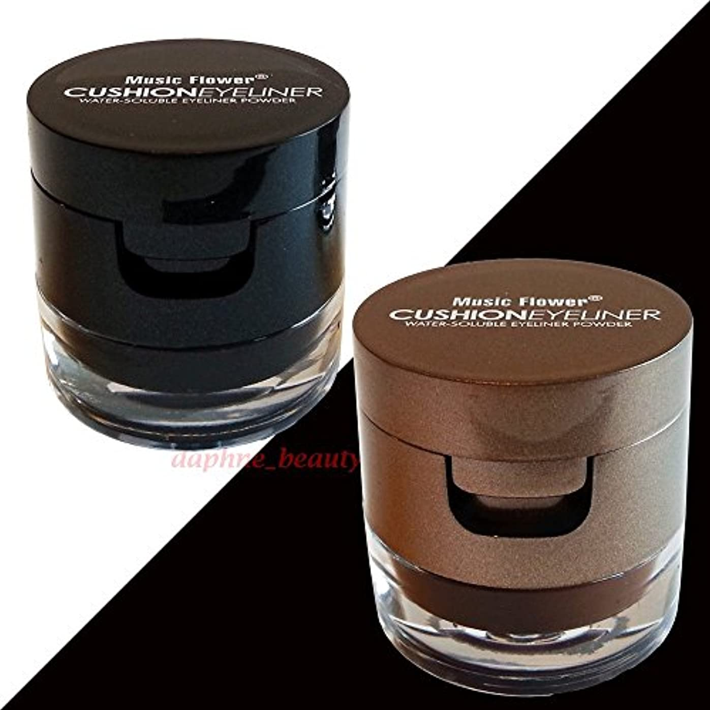 ウミウシ熟すビンMusic Flower Powerful Waterproof Cushion Eyeliner & Water-soluble Eyeliner/Eyebrow Powder Black & Brown Colors...