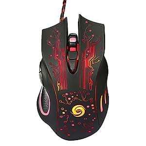 KKmoon ゲーミングマウス USB有線マウス 光学式マウス マウス 5レベルの5500CPI / DPI調整可能 6ボタンLEDライト付き デスクトップPCラップトップ用