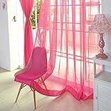 QIN レースカーテン シンプル 純色 無地 デザインカーテン ポリエステル生地 薄い 透け感良い 明るく 自然の風を通し 安らぎを感じる風合い 取り外し簡単 新生活応援  選べる7色 100x200cm ピンク