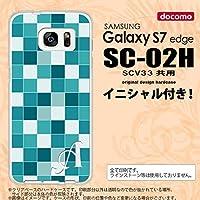 SC02H スマホケース Galaxy S7 edge ケース ギャラクシー S7 エッジ イニシャル スクエア ターコイズ nk-sc02h-1017ini H