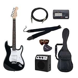 PhotoGenic エレキギター 初心者入門バリューセット ストラトキャスタータイプ ST-180/BK ブラック ローズウッド指板