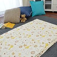 お昼寝布団 カバー 綿100% 敷き布団カバー 75×125cm アニマル イエロー かわいい ファスナー