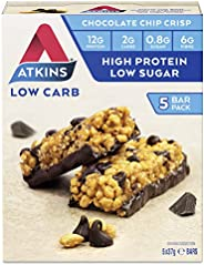 Atkins Chocolate Chip Crisp Bars | Keto Friendly Bars | 5 x 37g Low Carb Chocolate Bars | Low Carb, Low Sugar,