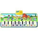 ピアノミュージックマット キッズ動物デザイン39インチ10キー電子ミュージカルキーボードプレイマット折りたたみフロアキーボードピアノダンス活動マットステップアンドプレイ楽器おもちゃ幼児子供のギフト 子供のための赤ちゃん幼児 (色 : マルチカラー, サイズ : 39.3*14.1inches)