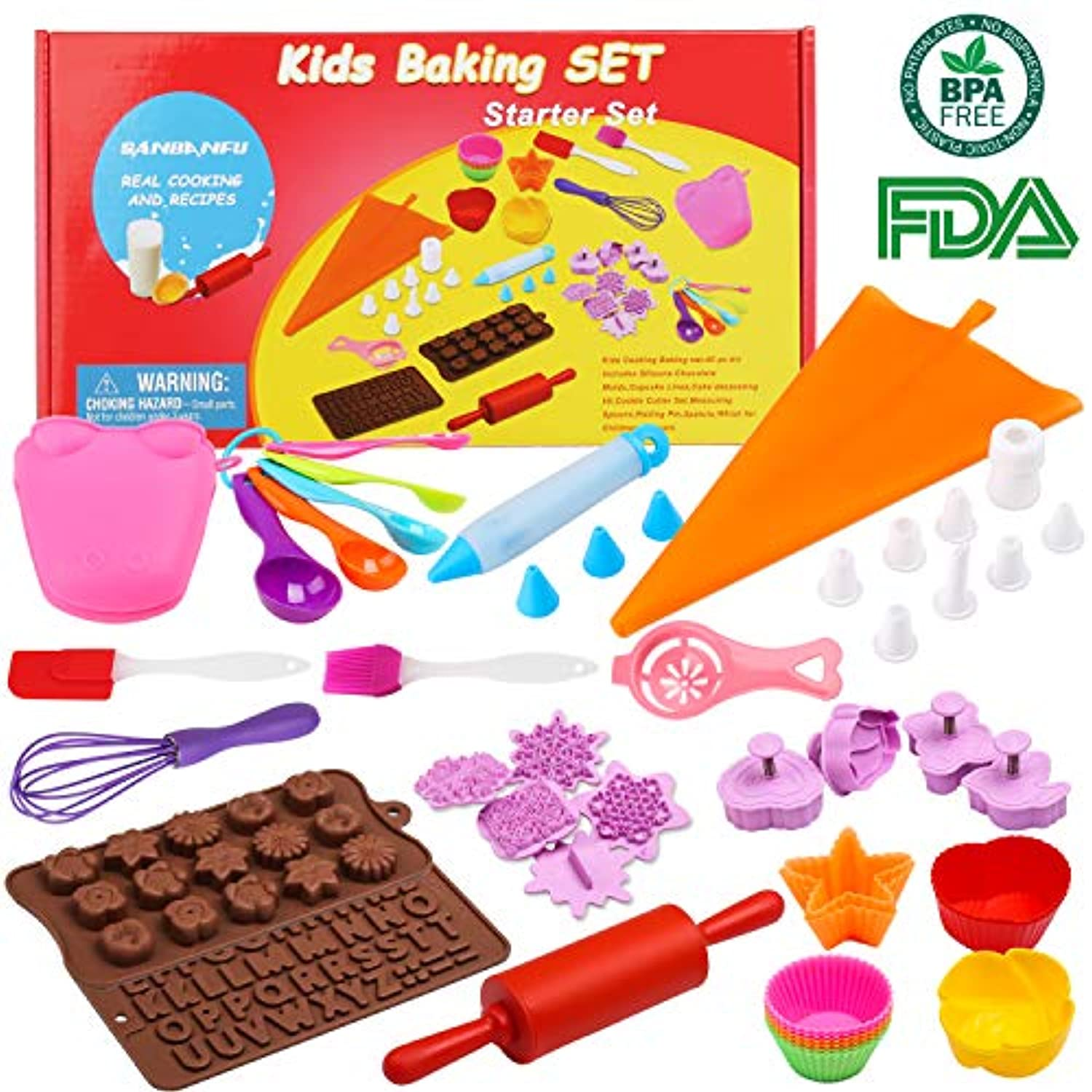 Kids Cooking Baking set Baking supplies Cupcake decorating kit-40 pcs include Silicone Chocolate Moulds,Cupcake cups,Cake decorating kit,Cookie Cutters,Measuring Spoons,Rolling Pin,Spatula,Whisk