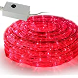 SEIKOH イルミネーションロープライト 50m 赤 LED 1500球 コントローラー付 防水 IRMRR050IRMRC010
