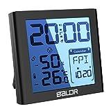 ディジタル温湿度計 温度計室内 LCD大画面温湿度計 壁掛け 卓上 置き掛け両用タイプ バックライト機能あり 目覚まし時計 高精度 高品質 健康管理 操作簡単 (ブラック)