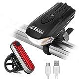 MOREZONE USB充電式 自転車 ライト 5モード 400LM LEDヘッドライトとテールライトセット 取り付け簡単 防水仕様