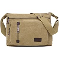 Retro Unisex Canvas Shoulder Messenger Bag Crossbody Satchel Travel Bags Khaki