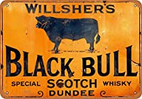 Willshers Black Bull Scotch Whiskey 金属スズヴィンテージ安全標識警告サインディスプレイボードスズサインポスター看板建設現場通りの学校のバーに適した