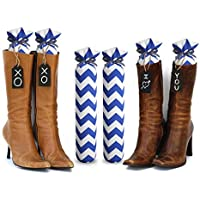 (Blue Chevron) - My Boot Trees, Boot Shaper Stands for Closet Organisation. Many Patterns to Choose From. 1 Pair (Blue Chevron).