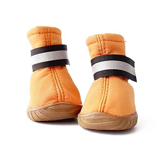ドッグブーツ 滑り止め 雨の日 犬靴 ゴム 夜道 愛犬のお散歩 柔らか 軽い 小型犬靴 中型犬靴 全2色 光反射ベルト付き 夏 犬用シューズ 犬用靴(オレンジ1)